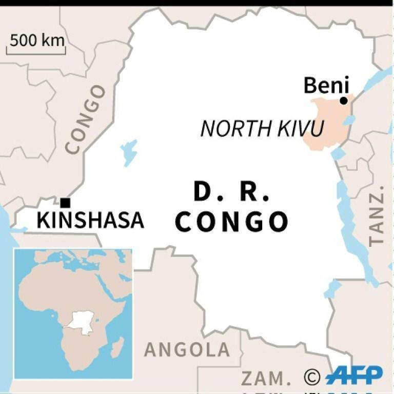 A map locating the North Kivu province, where the latest Ebola case was recorded in DR Congo