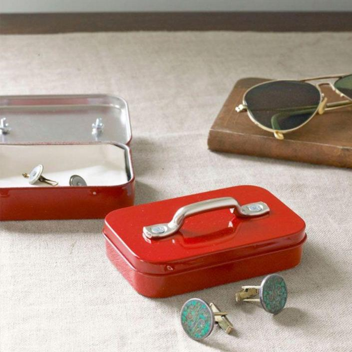 """<p>Turn a trusty mint tin into a trendy cufflinks case to help Dad stay organized, whether he's at home or on-the-go. </p><p><em>Get the tutorial at <a href=""""https://www.countryliving.com/diy-crafts/how-to/g1157/fun-summer-crafts/"""" rel=""""nofollow noopener"""" target=""""_blank"""" data-ylk=""""slk:Country Living"""" class=""""link rapid-noclick-resp"""">Country Living</a>.</em></p>"""