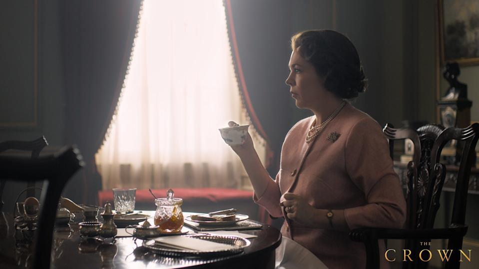 A photo of Olivia Coleman as Queen Elizabeth II on set of The Crown season three.