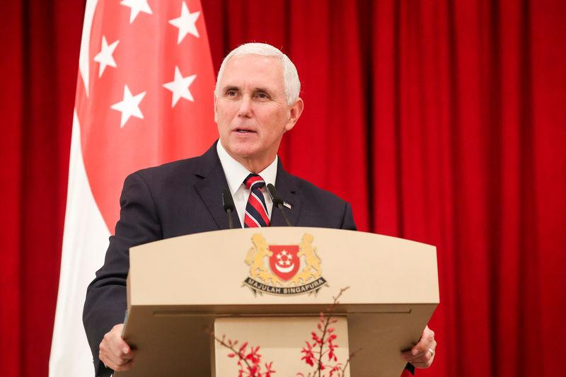 U.S. Vice President Mike Pence speaks at a joint press conference at the Istana or Presidential Palace in Singapore, November 16, 2018. Yong Teck Lim/Pool via REUTERS