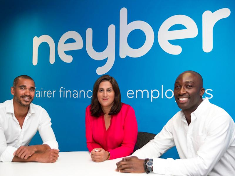 The founders of Neyber, from left: Ezechi Britton, Monica Kalia, and Martin Ijaha.