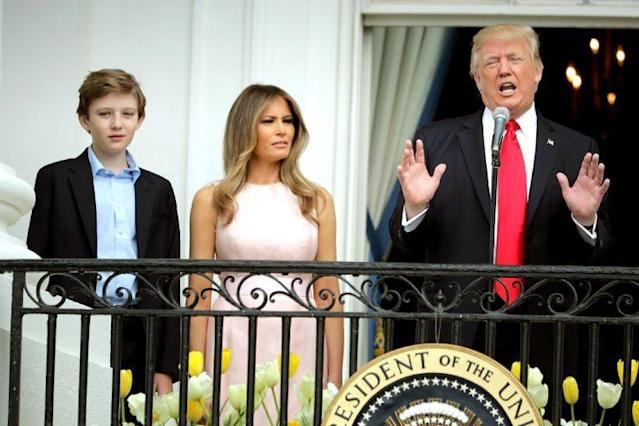 President Donald Trump with first lady Melania Trump and their son Barron Trump. (Photo: Chip Somodevilla/Getty Images)