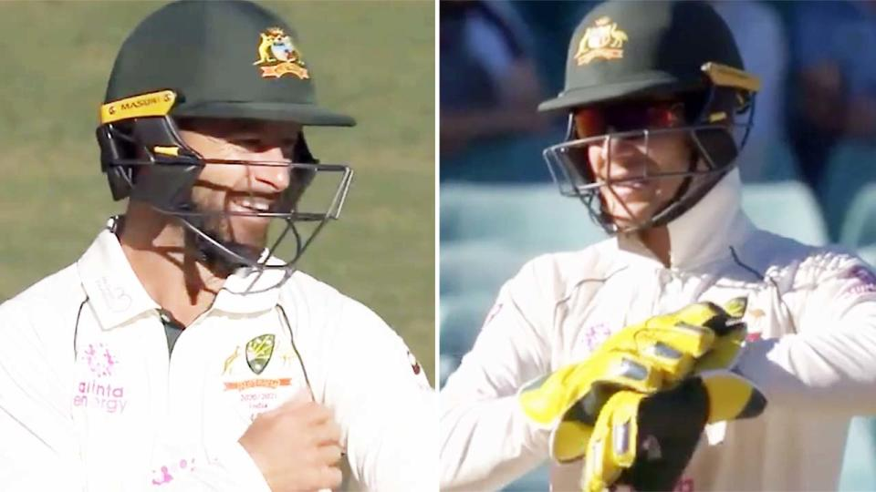 Matthew Wade and Tim Paine, pictured here referencing the controversial comments about Marnus Labuscgange.
