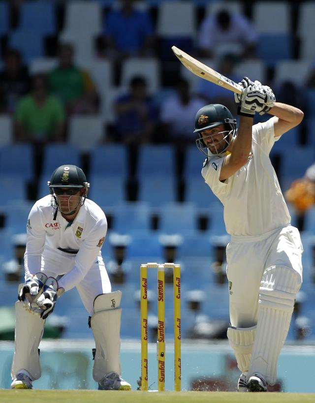 Australia's Alex Doolan plays a shot during the first day of their cricket test match against South Africa in Centurion February 12, 2014. REUTERS/Siphiwe Sibeko (SOUTH AFRICA - Tags: SPORT CRICKET)