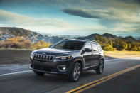 This photo provided by FCA US shows the 2020 Jeep Cherokee, a compact crossover with an adventurous spirit. The Trailhawk trim is especially adept off-road. Shoppers should be able to find considerable discounts on the Cherokee this Fourth of July. (Courtesy of FCA US via AP)