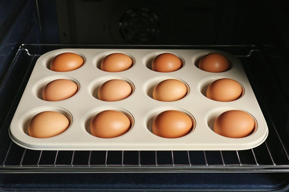 """<p>Hard-boiled eggs are another great breakfast to eat on the go or eat quickly, but making them isn't exactly a fast process. Whether you need to make a whole bunch for the family or you just want them to be ready for you each morning, a good solution is to make a big batch in the oven. <a href=""""https://www.allrecipes.com/recipe/232024/hard-boiled-eggs-in-the-oven/"""" rel=""""nofollow noopener"""" target=""""_blank"""" data-ylk=""""slk:Check out this recipe"""" class=""""link rapid-noclick-resp"""">Check out this recipe</a> to learn how to do it.</p>"""