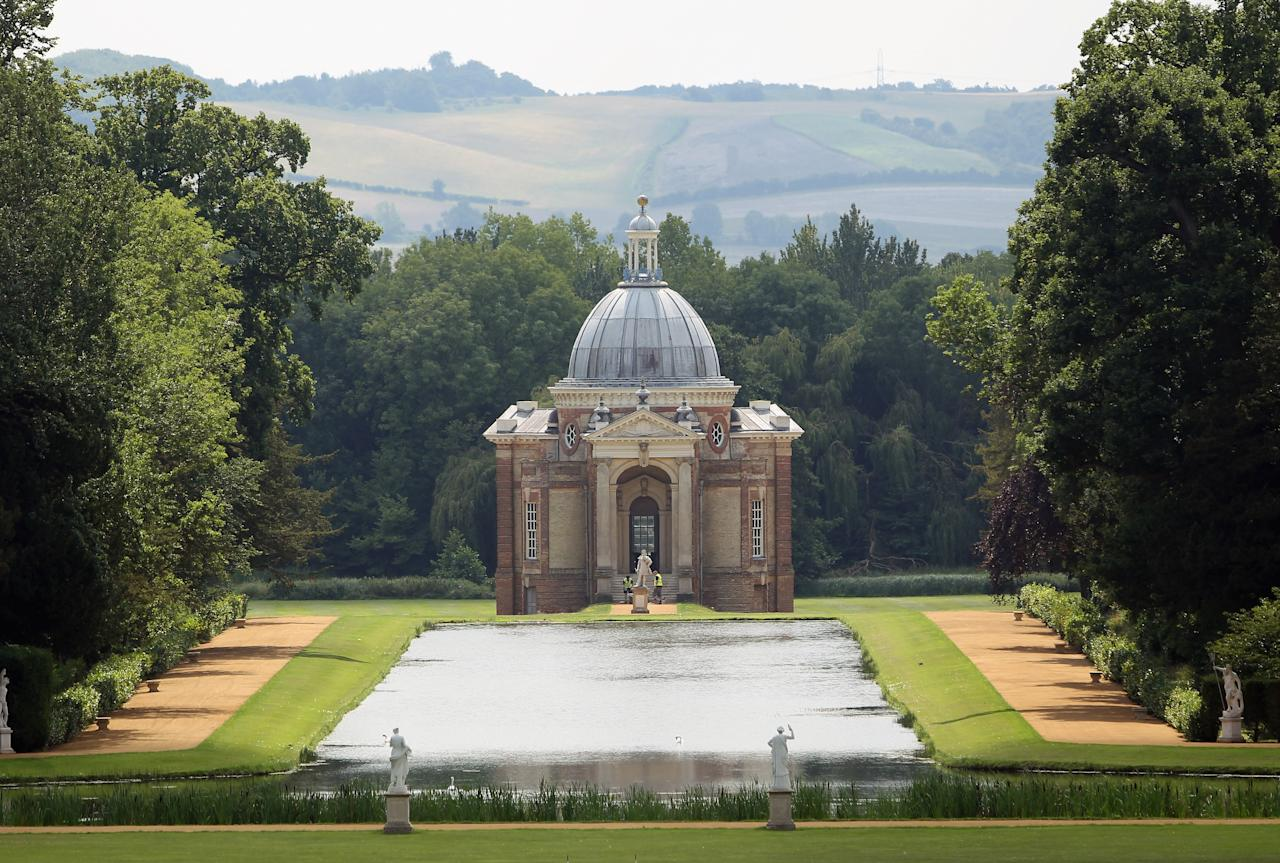LUTON, ENGLAND - JULY 28:  (EDITORS NOTE: THIS IMAGE IS STRICTLY EMBARGOED UNTIL 0001 BST ON TUESDAY AUGUST 2, 2011) (ONLINE OUT)  A general view of the long water running down to the Archer Pavillion at Wrest Park on July 28, 2011 in Silsoe, England. English Heritage has recently finished a lengthy restoration process around the grounds of Wrest Park, which sits on 92 acres of historic landscape gardens in Bedfordshire. For decades, the overgrown gardens and 18th century mansion and pavillion have been behind closed doors, and remained largely unknown to the public. From August 4, 2011 visitors can see the newly restored areas including the Italian Garden, the Long Water running down to the Archer Pavilion, an Orangery and the Conservatory.  (Photo by Dan Kitwood/Getty Images)