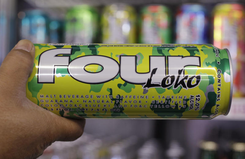 A can of Four Loko is displayed at a liquor store in Palo Alto, Calif., Monday, Oct. 18, 2010. After students at northern New Jersey's Ramapo College were hospitalized because of the effects of Four Loko _ which contains caffeine, other common energy-drink ingredients, and as much alcohol as four beers _ the college president ordered last month that it and similar drinks be banned. He's encouraging other colleges and the state to follow suit. (AP Photo/Paul Sakuma)