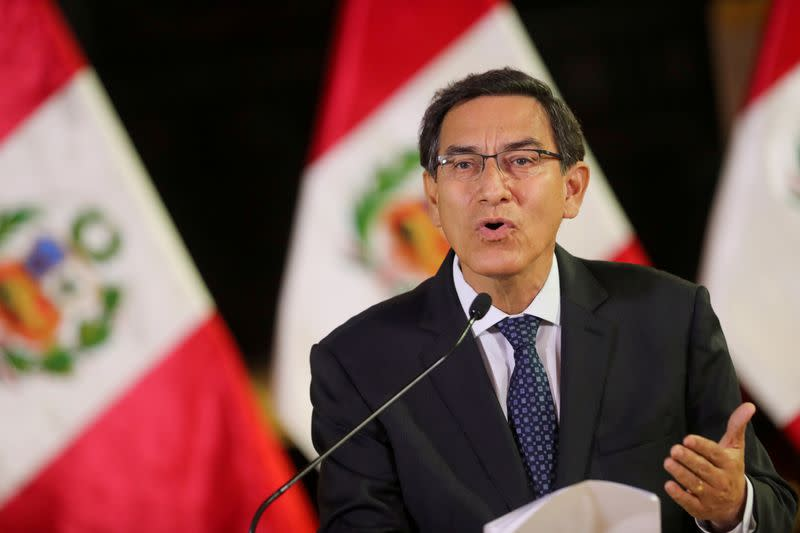 FILE PHOTO: Peru's President Vizcarra addresses the nation at the government palace in Lima