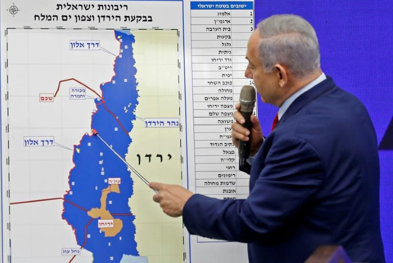 "Nicknamed ""King Bibi"" and ""Mr. Security"" Israeli Prime Minister Benjamin Netanyahu has vowed to annex the Jordan Valley in the occupied West Bank if he is re-elected on Tuesday (AFP Photo/Menahem KAHANA)"