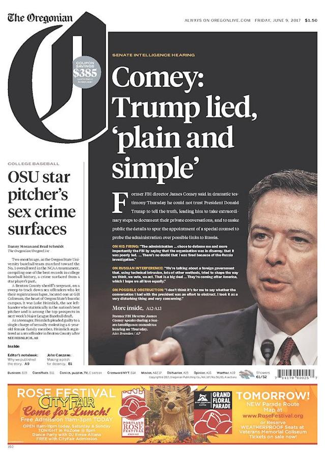 "<p>""The Oregonian,"" published in Portland, Ore. (Newseum) </p>"