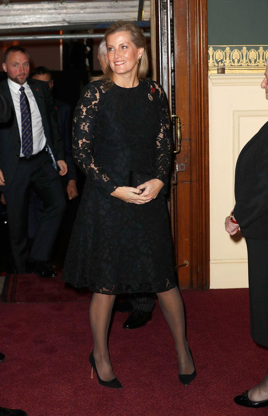 """<p>Countess Sophie wore an elegant black dress with long lace sleeves and a poppy pin to attend the <a href=""""https://www.townandcountrymag.com/society/tradition/g24747942/royal-family-festival-of-remembrance-queen-elizabeth-prince-charles-photos/"""" rel=""""nofollow noopener"""" target=""""_blank"""" data-ylk=""""slk:Royal British Legion Festival of Remembrance"""" class=""""link rapid-noclick-resp"""">Royal British Legion Festival of Remembrance </a>at the Royal Albert Hall. </p>"""
