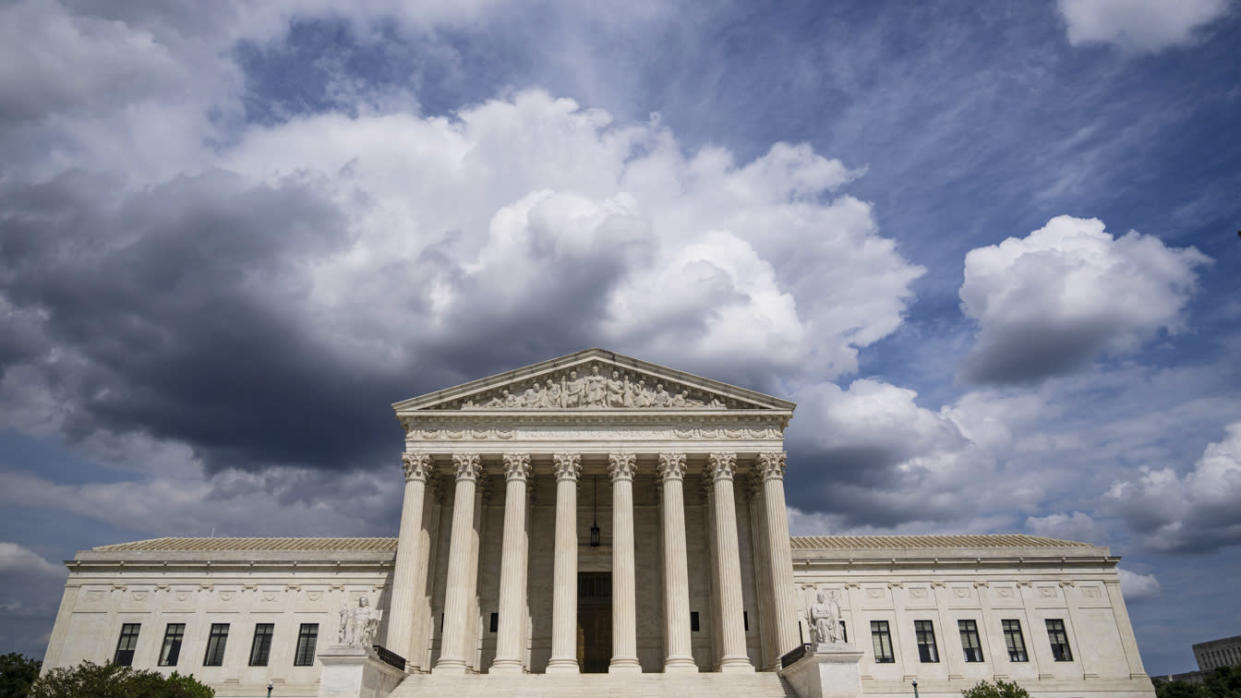 Clouds are seen above The U.S. Supreme Court building on May 17, 2021 in Washington, DC. The Supreme Court said that it will hear a Mississippi abortion case that challenges Roe v. Wade. They will hear the case in October, with a decision likely to come in June of 2022. (Photo by Drew Angerer/Getty Images)