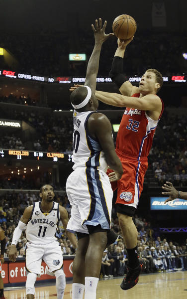 Los Angeles Clippers forward Blake Griffin (32) shoots over Memphis Grizzlies forward Zach Randolph (50) as Memphis Grizzlies guard Mike Conley (11) looks on during the first half of Game 3 in a first-round NBA basketball playoff series in Memphis, Tenn., Thursday, April 25, 2013. (AP Photo/Danny Johnston)
