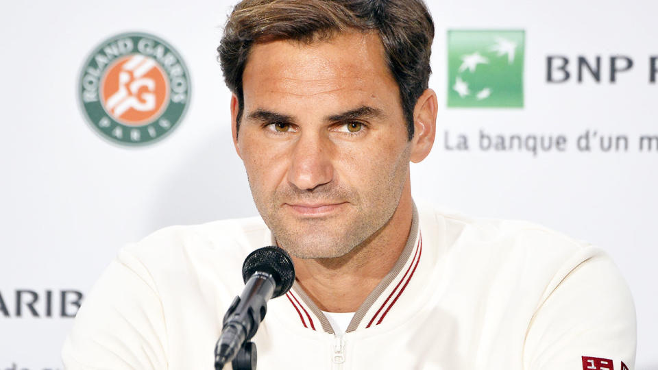 Roger Federer, pictured here talking to the media at the French Open.