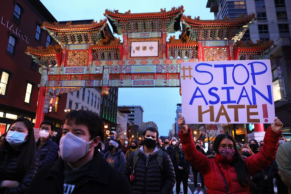 A vigil in response to the Atlanta spa shootings on March 17, 2021 in the Chinatown area of Washington, D.C. (Photo: Alex Wong via Getty Images)