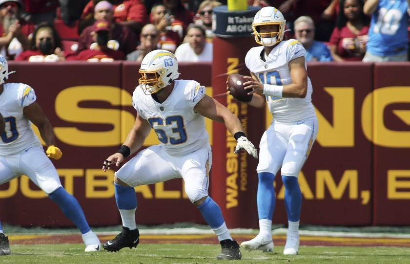 Los Angeles Chargers center Corey Linsley (63) blocks during an NFL football game against the Washington Football Team, Sunday, Sept. 12, 2021 in Landover, Md. (AP Photo/Daniel Kucin Jr.)