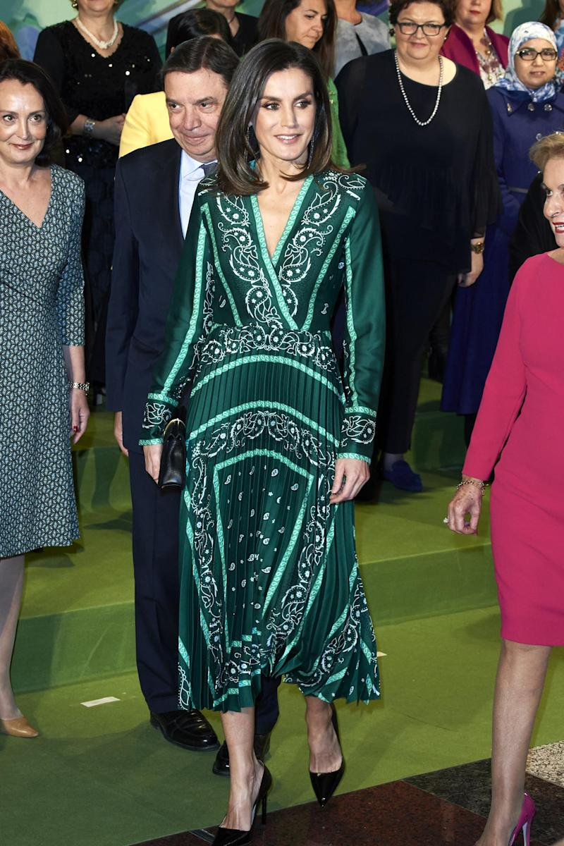Queen Letizia wears a green Sandro scarf dress (Getty Images)