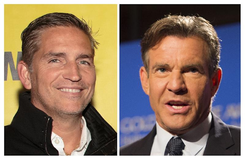 """Actor Jim Caviezel (L) appears in """"Paul, Apostle of Christ,"""" while Dennis Quaid (R) stars in """"I Can Only Imagine"""" -- two faith-based films that made it into the box office top 10"""