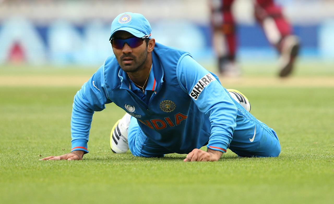 India's Dinesh Karthik during the ICC Champions Trophy match at the Kia Oval, London.