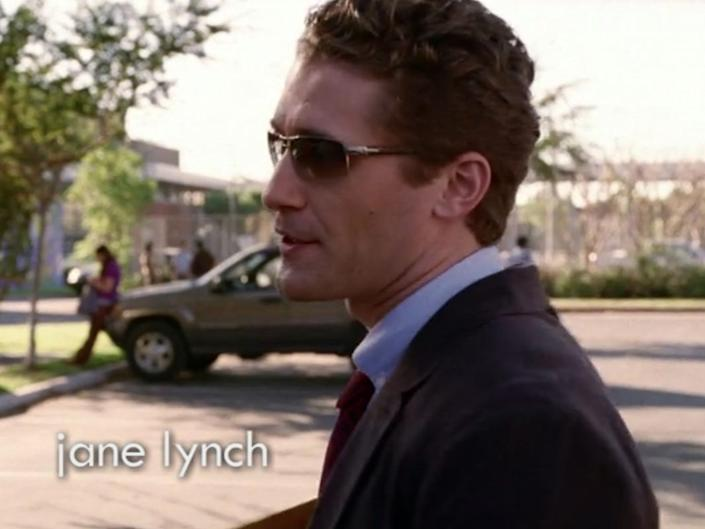Will Schuester completes his first look with sunglasses.