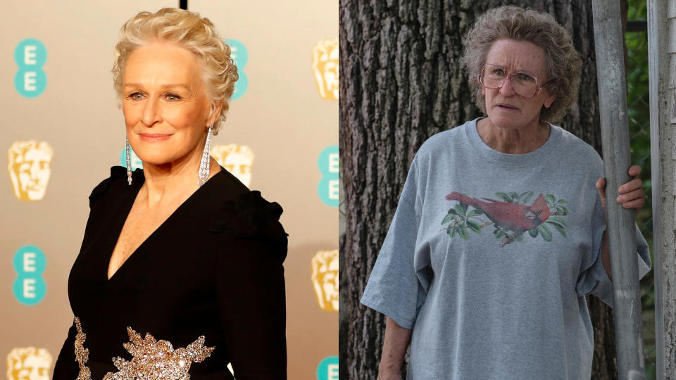 """Glenn Close was on the losing end of a major Oscars upset when her work in <em>The Wife</em> was pipped by Olivia Colman in <em>The Favourite</em>. A couple of years later, she has <a href=""""https://uk.movies.yahoo.com/glenn-close-hillbilly-elegy-transformation-141235010.html"""" data-ylk=""""slk:donned considerable make-up;outcm:mb_qualified_link;_E:mb_qualified_link;ct:story;"""" class=""""link rapid-noclick-resp yahoo-link"""">donned considerable make-up</a> and an old lady wig to play a Kentucky grandmother in Netflix drama <em>Hillbilly Elegy</em>. Critical notices for the movie have been far from kind, so that Oscar may elude her yet again. (Credit: Tolga Akmen/AFP/Getty/Lacey Terrell/Netflix)"""