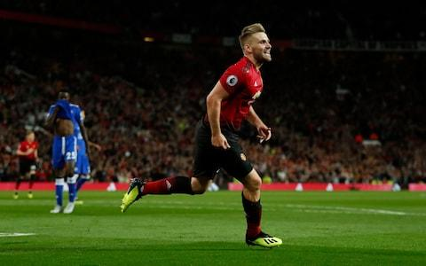 Old Trafford, Manchester, Britain - August 10, 2018. Manchester United's Luke Shaw celebrates scoring their second goal - Credit: Action Images