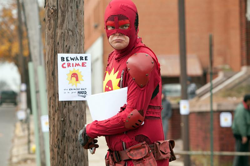 "The Crimson Bolt (Rainn Wilson) fights crime after his wife leaves him in ""Super."""