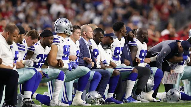 Dallas Cowboys owner Jerry Jones warned his players to respect the United States flag.