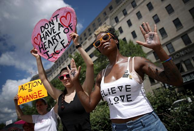 <p>Protesters demonstrate in Freedom Plaza against family detentions and to demand the end of criminalizing efforts of asylum seekers and immigrants June 28, 2018 in Washington, D.C. (Photo: Win McNamee/Getty Images) </p>