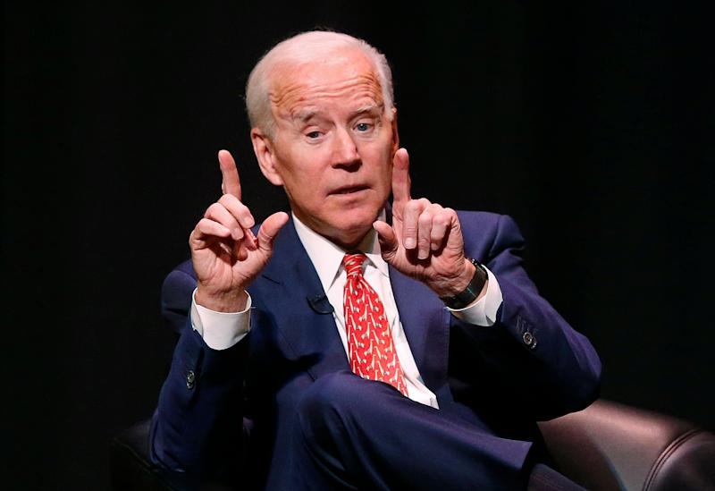 FILE - In this Dec. 13, 2018, file photo, former Vice President Joe Biden speaks at the University of Utah Thursday Dec. 13, 2018, in Salt Lake City. A year defined by the political power of women is ending with men enjoying much of the attention. Outgoing Texas Rep. Beto O'Rourke, former Vice President Joe Biden and Vermont Sen. Bernie Sanders have emerged as early favorites in the opening phase of the 2020 campaign. (AP Photo/Rick Bowmer, file)