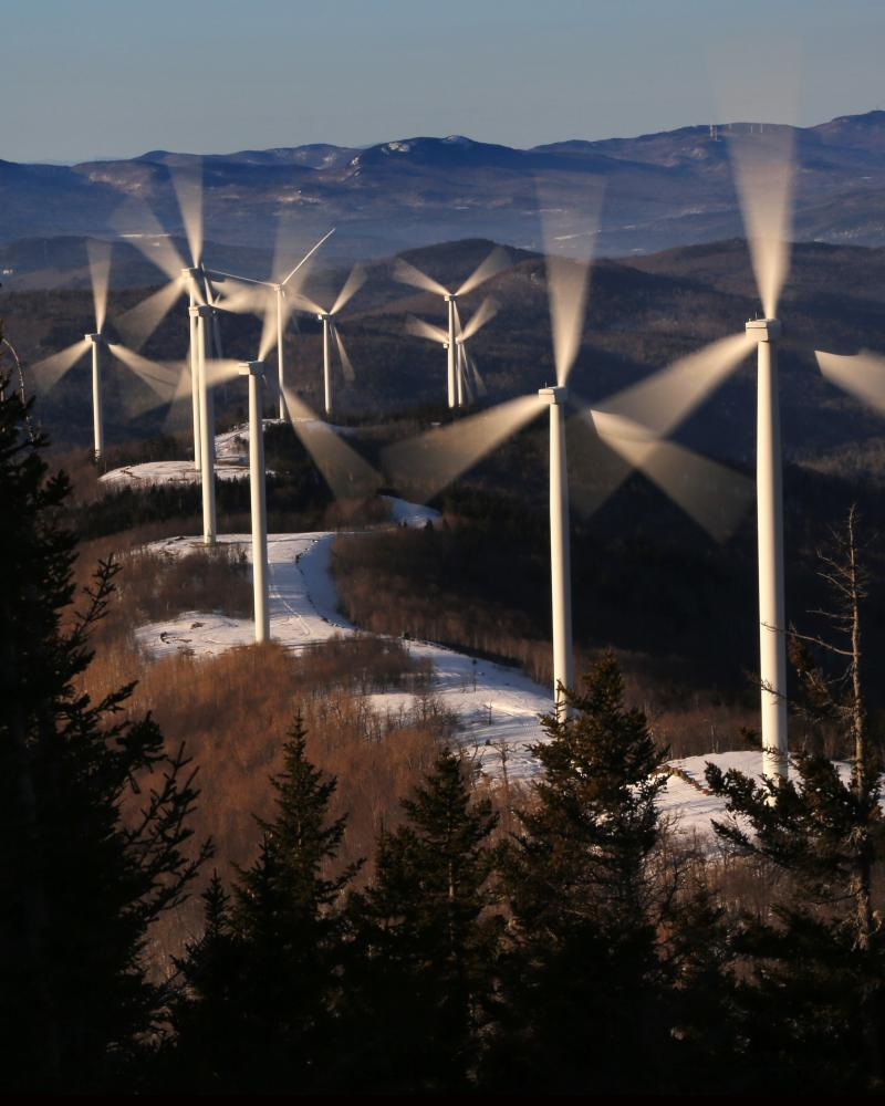 Wind turbines in Carthage, Maine