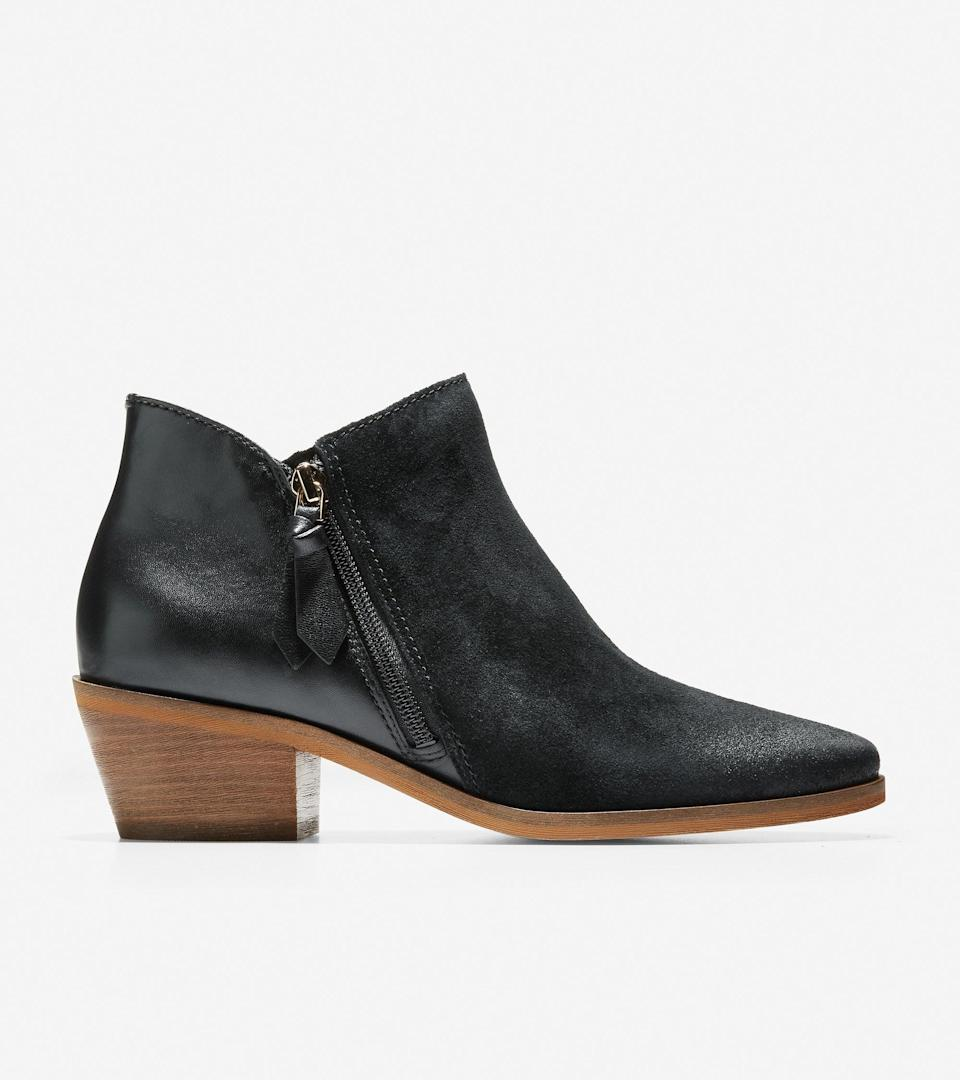 """<br><br><strong>Cole Haan</strong> Gracy Bootie, $, available at <a href=""""https://go.skimresources.com/?id=30283X879131&url=https%3A%2F%2Ffave.co%2F2IzYB3m"""" rel=""""nofollow noopener"""" target=""""_blank"""" data-ylk=""""slk:Coel Haan"""" class=""""link rapid-noclick-resp"""">Coel Haan</a>"""