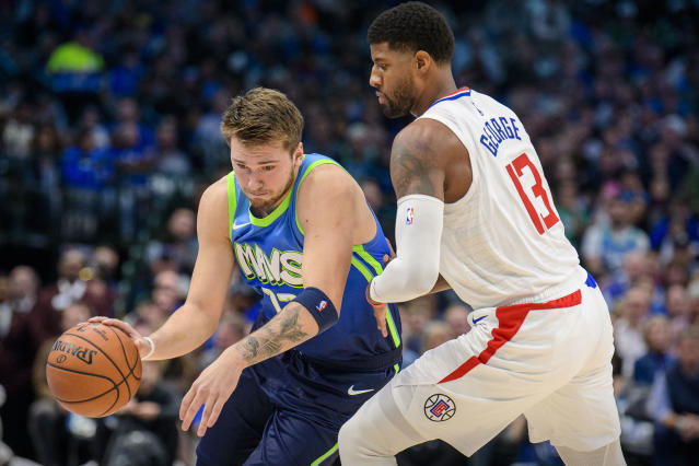 Luka Doncic found little room to work Tuesday against a smothering Clippers defense. (Jerome Miron/USA Today Sports)