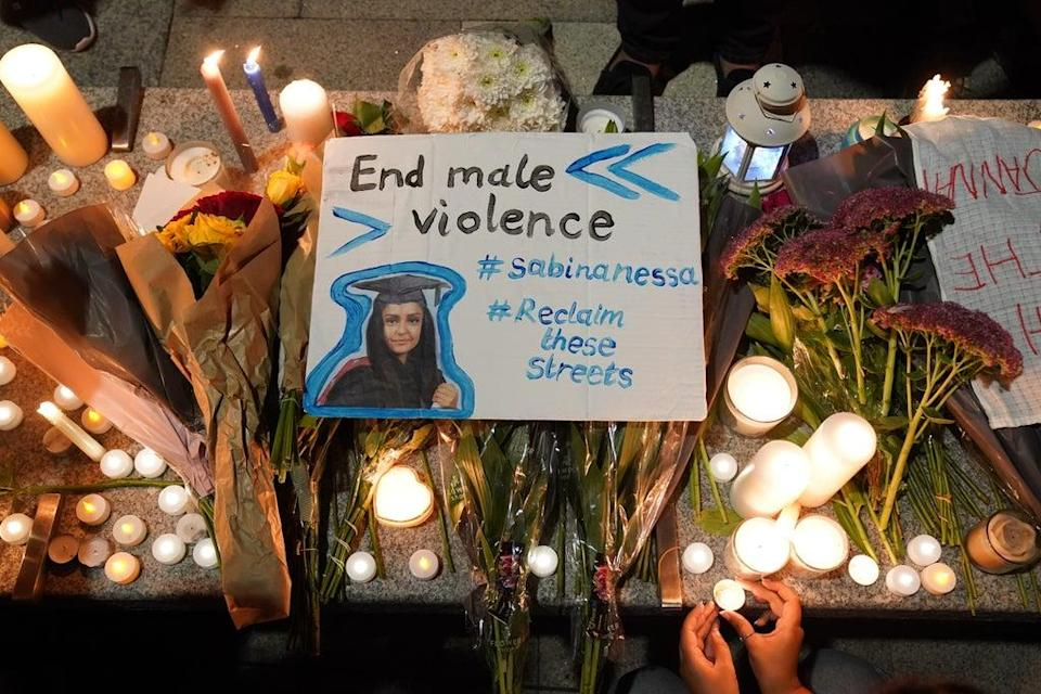 A vigil was held in memory of Sabina Nessa on Friday (Jonathan Brady/PA) (PA Wire)