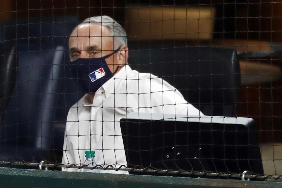 ARLINGTON, TEXAS - OCTOBER 07: Commissioner of Baseball Rob Manfred attends Game Two of the National League Division Series between the San Diego Padres and the Los Angeles Dodgers at Globe Life Field on October 07, 2020 in Arlington, Texas. (Photo by Ronald Martinez/Getty Images)