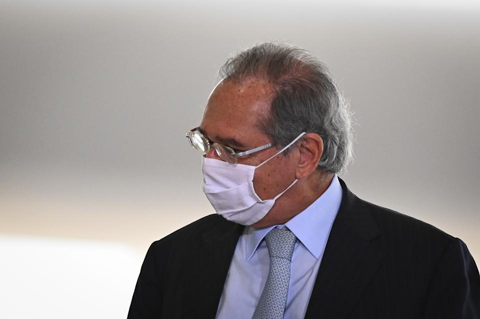 Brazil's Economy Minister Paulo Guedes arrives for the launching ceremony of the National Vaccination Operationalization Plan against COVID-19 at Planalto Palace in Brasilia, Brazil, on Wednesday, Dec. 16, 2020. (Photo by Andre Borges/NurPhoto via Getty Images)