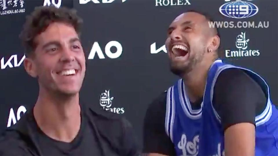 Pictured here, Nick Kyrgios has a laugh at the expense of doubles partner Thanasi Kokkinakis.