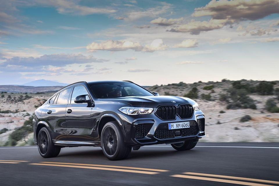 """<p>BMW's M Division has laid it hands on the brand's new X5 and X6 SUVs and has created the most powerful SUVs ever sold by BMW in the United States. Both the <a href=""""https://www.caranddriver.com/bmw/x5-m"""" rel=""""nofollow noopener"""" target=""""_blank"""" data-ylk=""""slk:BMW X5 M"""" class=""""link rapid-noclick-resp"""">BMW X5 M</a> and fastbacked <a href=""""https://www.caranddriver.com/bmw/x6-m"""" rel=""""nofollow noopener"""" target=""""_blank"""" data-ylk=""""slk:X6 M"""" class=""""link rapid-noclick-resp"""">X6 M</a> are powered by a twin-turbo V-8 cranking out 600 hp and 553 lb-ft of torque. In the Competition models, the power number jumps to 617 ponies. BMW backs the 4.4-liter, which is the same engine used in the M5 sedan, with an eight-speed automatic transmission and says the SUV can accelerate to 60 mph in 3.8 seconds in 600 hp trim and 3.7 seconds in Competition spec.</p><p><a class=""""link rapid-noclick-resp"""" href=""""https://www.caranddriver.com/bmw/x5-m/specs"""" rel=""""nofollow noopener"""" target=""""_blank"""" data-ylk=""""slk:MORE X5 M SPECS"""">MORE X5 M SPECS</a></p><p><a class=""""link rapid-noclick-resp"""" href=""""https://www.caranddriver.com/bmw/x6-m/specs"""" rel=""""nofollow noopener"""" target=""""_blank"""" data-ylk=""""slk:MORE X6 M SPECS"""">MORE X6 M SPECS</a></p>"""