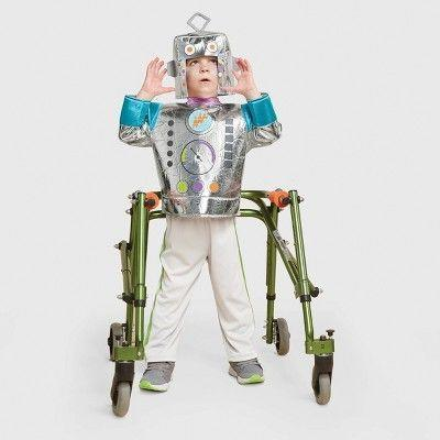 """<p><strong>Hyde & EEK! Boutique</strong></p><p>target.com</p><p><strong>$30.00</strong></p><p><a href=""""https://www.target.com/p/toddler-adaptive-robot-halloween-costume-hyde-eek-boutique/-/A-79796779"""" rel=""""nofollow noopener"""" target=""""_blank"""" data-ylk=""""slk:Shop Now"""" class=""""link rapid-noclick-resp"""">Shop Now</a></p><p>Perfect for toddlers, this robot costume comes with the shiny, long-sleeve top, the pants and the robot helmet. The costume opens at the back for easy dressing. </p>"""