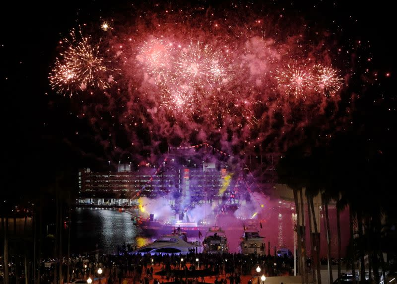 Fireworks explode over the Gasparilla Pirate Ship in Tampa