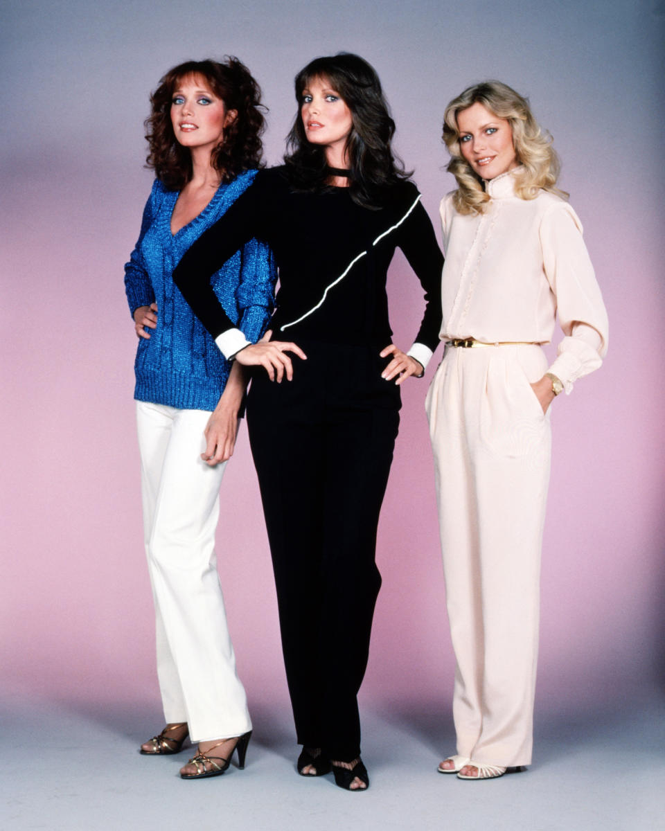 American actresses Tanya Roberts, Jaclyn Smith and Cheryl Ladd, stars of the American TV show 'Charlie's Angels', circa 1980.