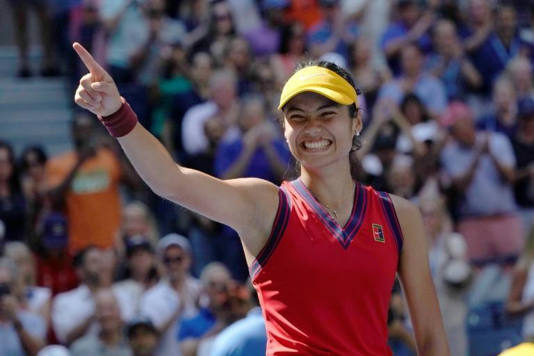 British 18-year-old sensation Emma Raducanu would become the first qualifier to reach a Grand Slam final with one more victory at the US Open (AFP/TIMOTHY A. CLARY)