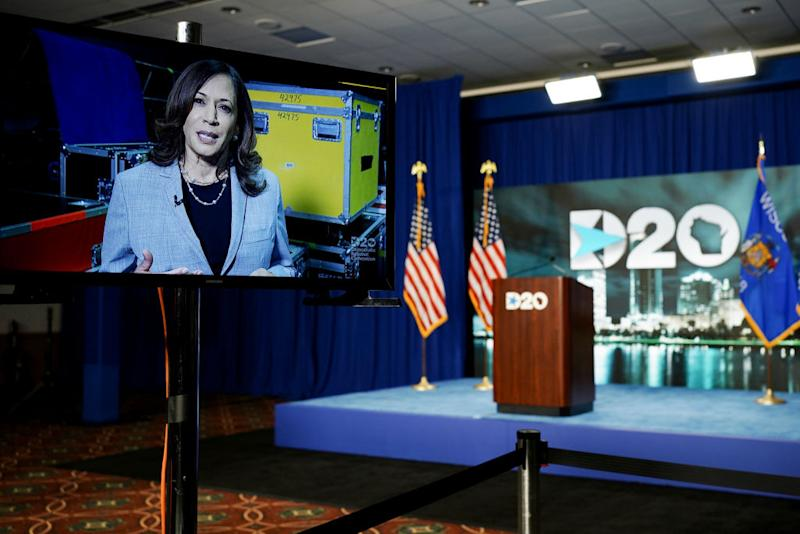 Senator Kamala Harris displayed on a video monitor while speaking during the virtual Democratic National Convention. Source: Getty