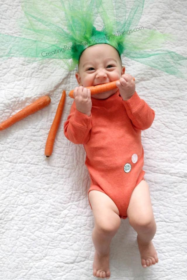 "<p>Transform your picky eater into this cutie patootie veggie. </p><p><strong>Get the tutorial at <a rel=""nofollow"" href=""https://www.creatingreallyawesomefunthings.com/diy-baby-carrot-costume/"">C.R.A.F.T.</a></strong><a rel=""nofollow"" href=""https://www.creatingreallyawesomefunthings.com/diy-baby-carrot-costume/""></a></p>"