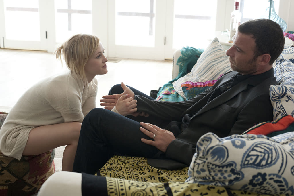 "Ambyr Childers as Ashley Rucker and Liev Schreiber as Ray Donovan in the series premiere of Showtime's ""Ray Donovan."""