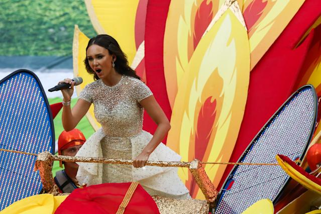 <p>MOSCOW, RUSSIA – JUNE 14, 2018: Russian soprano Aida Garifullina performs at the opening ceremony of the 2018 FIFA World Cup at Luzhniki Stadium. Stanislav Krasilnikov/TASS (Photo by Stanislav Krasilnikov\TASS via Getty Images) </p>