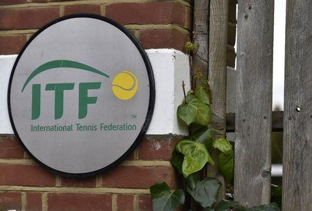 FILE PHOTO: A logo is seen at the entrance to the International Tennis Federation headquarters, where the Tennis Integrity Unit is based, in London, Britain January 18, 2016. REUTERS/Toby Melville/File Photo