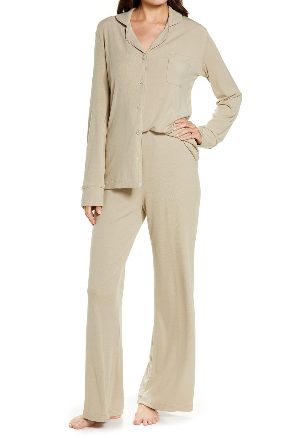 """<p><strong>SKIMS</strong></p><p>nordstrom.com</p><p><strong>$118.00</strong></p><p><a href=""""https://go.redirectingat.com?id=74968X1596630&url=https%3A%2F%2Fwww.nordstrom.com%2Fs%2Fskims-rib-pajamas-regular-plus-size%2F5897392&sref=https%3A%2F%2Fwww.womenshealthmag.com%2Flife%2Fg37581188%2Fpajamas-for-women%2F"""" rel=""""nofollow noopener"""" target=""""_blank"""" data-ylk=""""slk:Shop Now"""" class=""""link rapid-noclick-resp"""">Shop Now</a></p><p>Kim Kardashian West's Skims brand makes <em>so</em> much more than shapewear. These comfy ribbed stretch modal jammies will have you sleeping stylishly in no time.<br></p>"""