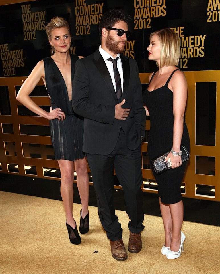 Eliza Coupe, Adam Pally, and Elisha Cuthbert attend The Comedy Awards 2012 at Hammerstein Ballroom on April 28, 2012 in New York City.